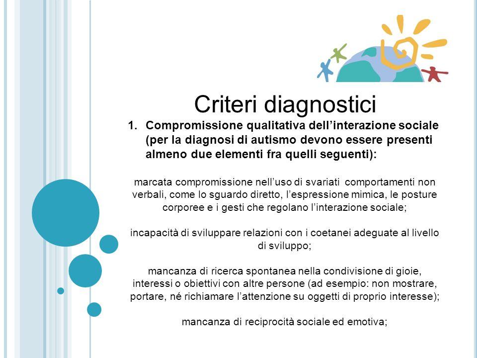 Indicazioni per lo screening Il DSM-IV-TR inserisce fra i criteri diagnostici un esordio prima dei 3 anni di vita, che si esprime con ritardi o atipie nelle aree dellinterazione sociale e/o della comunicazione e/o del gioco simbolico (APA, 2002).