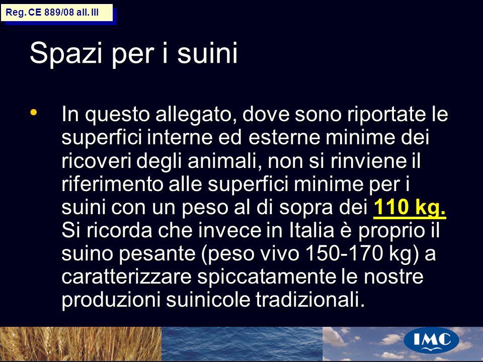 Sergio Benedetti Spazi per i suini In questo allegato, dove sono riportate le superfici interne ed esterne minime dei ricoveri degli animali, non si r