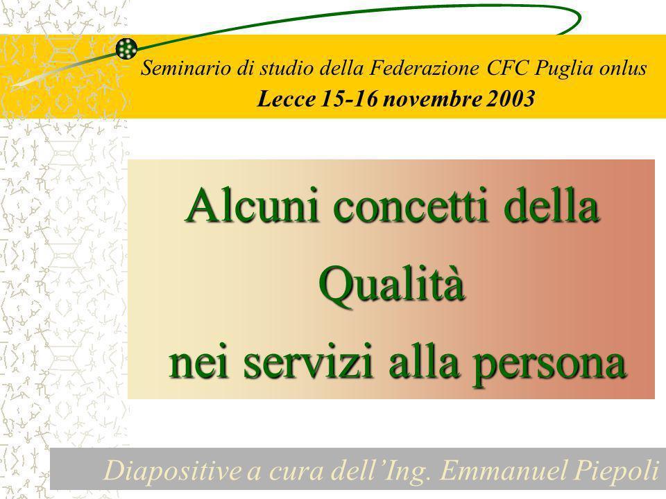 Seminario di studio della Federazione CFC Puglia onlus Lecce 15-16 novembre 2003 Alcuni concetti della Qualità nei servizi alla persona nei servizi alla persona Diapositive a cura dellIng.