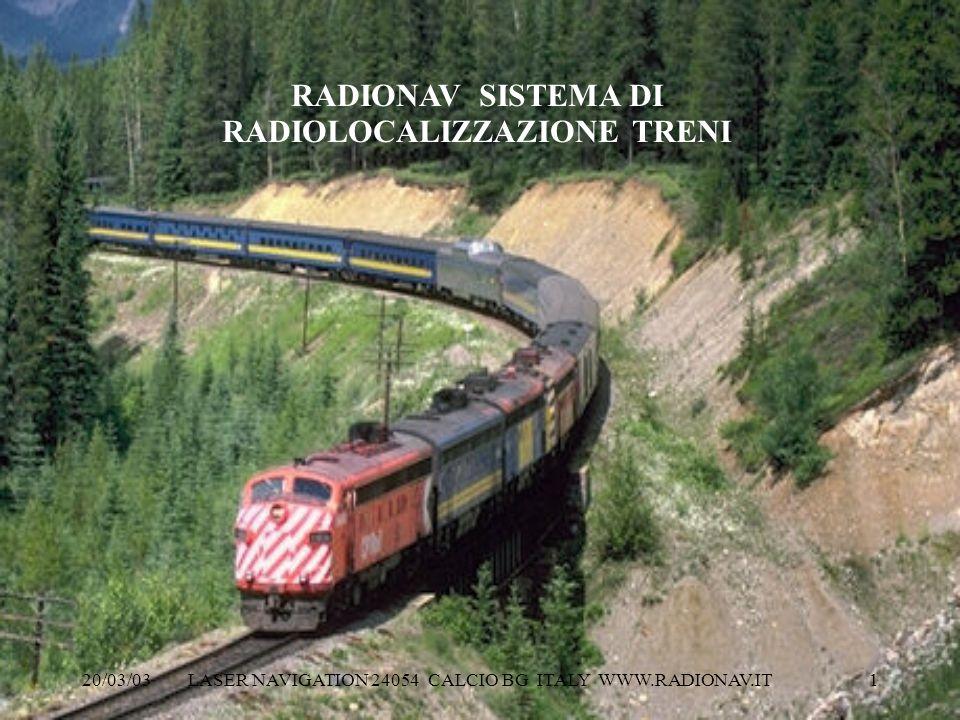 20/03/03 LASER NAVIGATION 24054 CALCIO BG ITALY WWW.RADIONAV.IT 1. RADIONAV SISTEMA DI RADIOLOCALIZZAZIONE TRENI