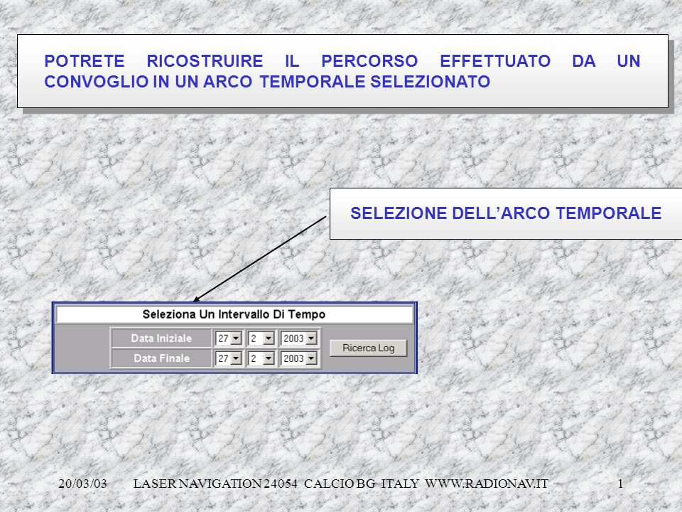 20/03/03 LASER NAVIGATION 24054 CALCIO BG ITALY WWW.RADIONAV.IT 1 POTRETE RICOSTRUIRE IL PERCORSO EFFETTUATO DA UN CONVOGLIO IN UN ARCO TEMPORALE SELE