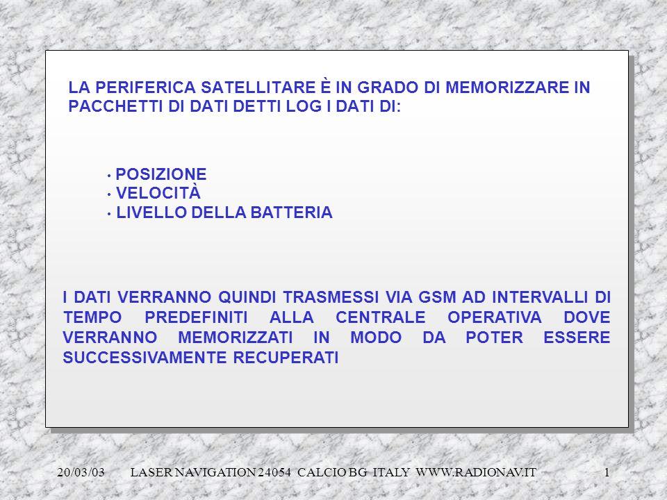 20/03/03 LASER NAVIGATION 24054 CALCIO BG ITALY WWW.RADIONAV.IT 1 LA PERIFERICA SATELLITARE È IN GRADO DI MEMORIZZARE IN PACCHETTI DI DATI DETTI LOG I