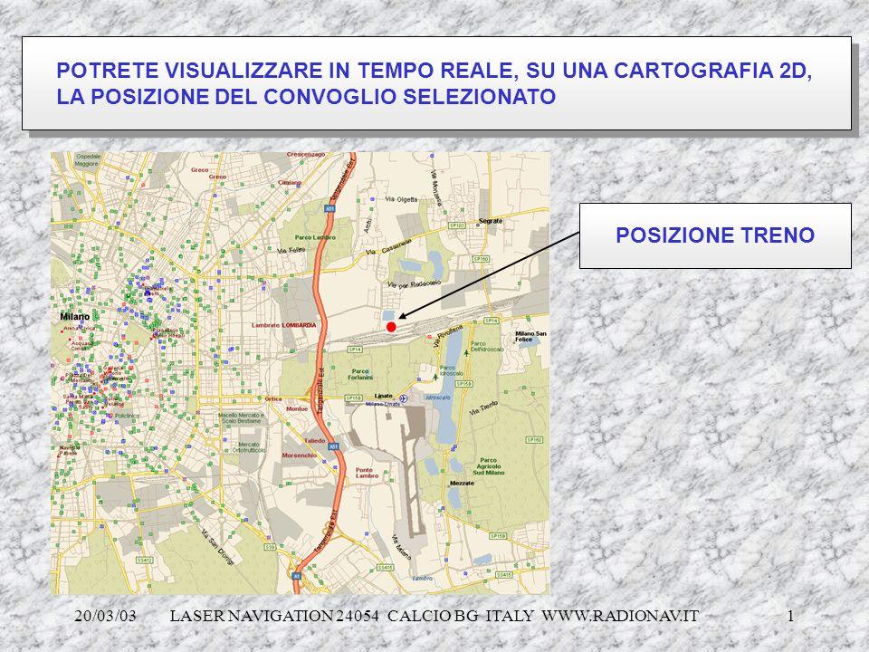 20/03/03 LASER NAVIGATION 24054 CALCIO BG ITALY WWW.RADIONAV.IT 1 POTRETE VISUALIZZARE IN TEMPO REALE, SU UNA CARTOGRAFIA 2D, LA POSIZIONE DEL CONVOGL