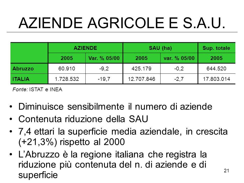 21 AZIENDE AGRICOLE E S.A.U. AZIENDESAU (ha)Sup. totale 2005Var. % 05/002005var. % 05/002005 Abruzzo 60.910-9,2425.179-0,2644.520 ITALIA 1.728.532-19,