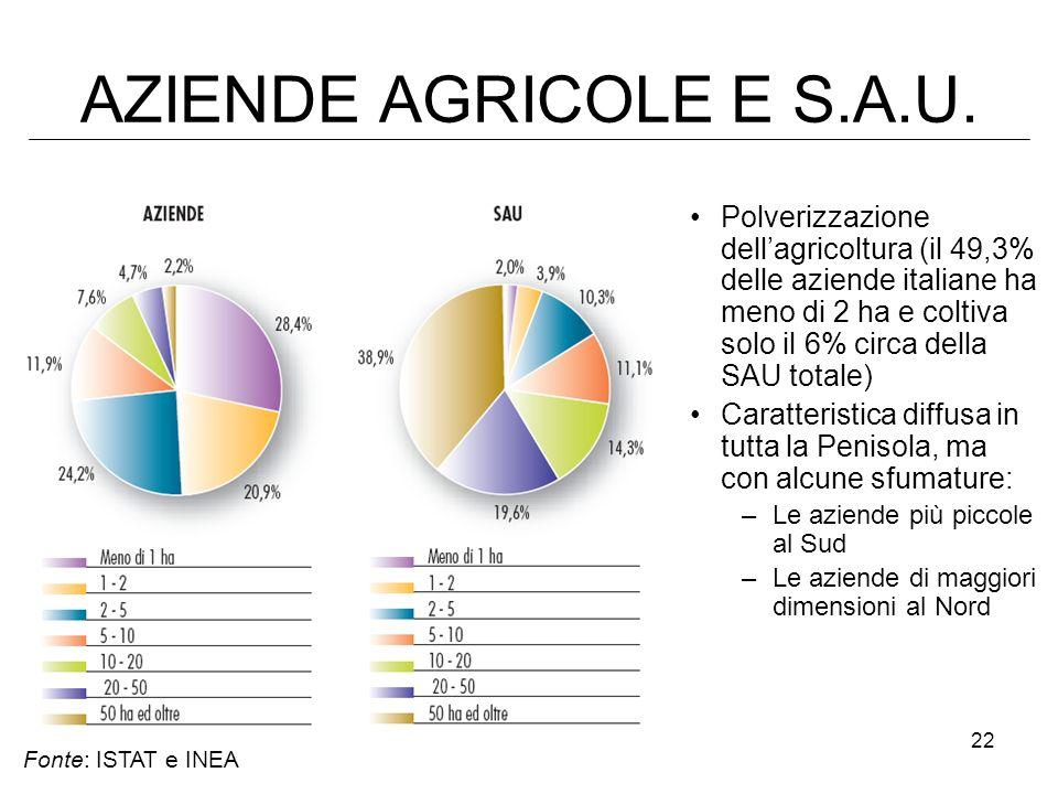 22 AZIENDE AGRICOLE E S.A.U. Polverizzazione dellagricoltura (il 49,3% delle aziende italiane ha meno di 2 ha e coltiva solo il 6% circa della SAU tot