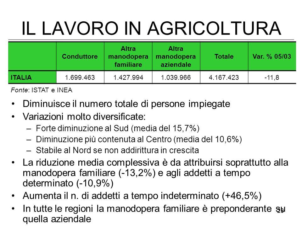 23 IL LAVORO IN AGRICOLTURA Diminuisce il numero totale di persone impiegate Variazioni molto diversificate: –Forte diminuzione al Sud (media del 15,7
