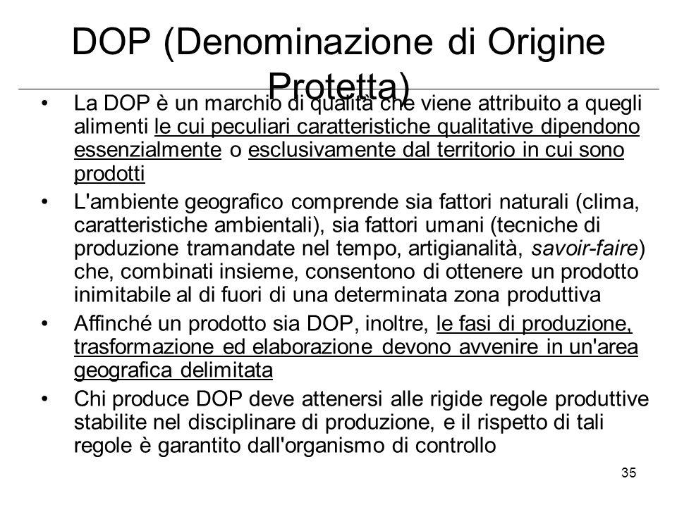 35 DOP (Denominazione di Origine Protetta) La DOP è un marchio di qualità che viene attribuito a quegli alimenti le cui peculiari caratteristiche qual