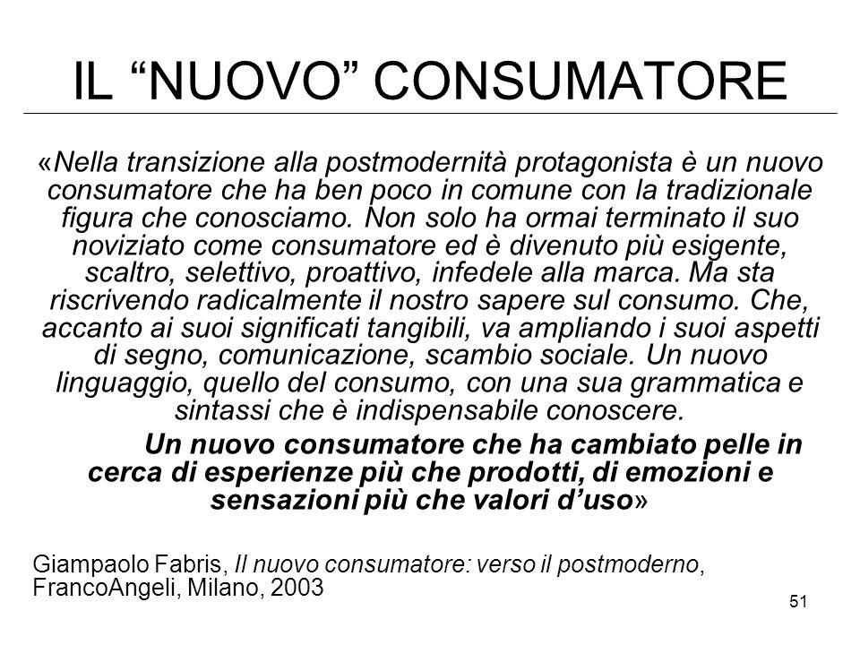 51 IL NUOVO CONSUMATORE «Nella transizione alla postmodernità protagonista è un nuovo consumatore che ha ben poco in comune con la tradizionale figura che conosciamo.