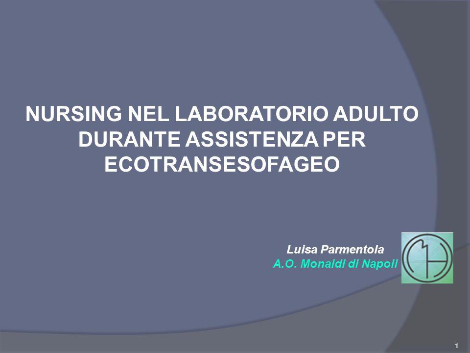 1 NURSING NEL LABORATORIO ADULTO DURANTE ASSISTENZA PER ECOTRANSESOFAGEO Luisa Parmentola A.O. Monaldi di Napoli
