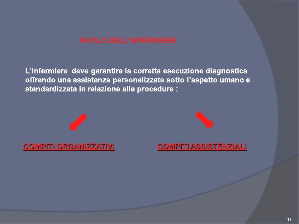 11 Linfermiere deve garantire la corretta esecuzione diagnostica offrendo una assistenza personalizzata sotto laspetto umano e standardizzata in relaz