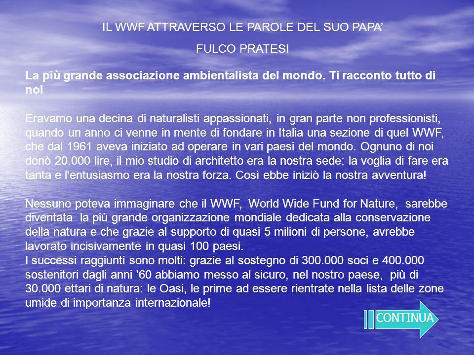 IL WWF ATTRAVERSO LE PAROLE DEL SUO PAPA FULCO PRATESI La più grande associazione ambientalista del mondo.