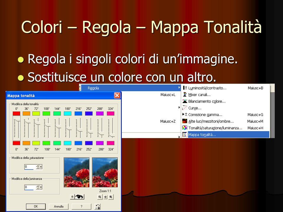 Colori – Regola – Mappa Tonalità Regola i singoli colori di unimmagine. Regola i singoli colori di unimmagine. Sostituisce un colore con un altro. Sos
