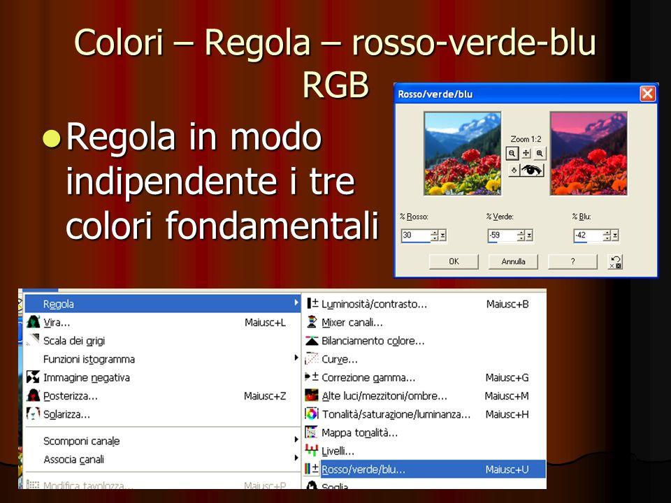 Colori – Regola – rosso-verde-blu RGB Regola in modo indipendente i tre colori fondamentali Regola in modo indipendente i tre colori fondamentali