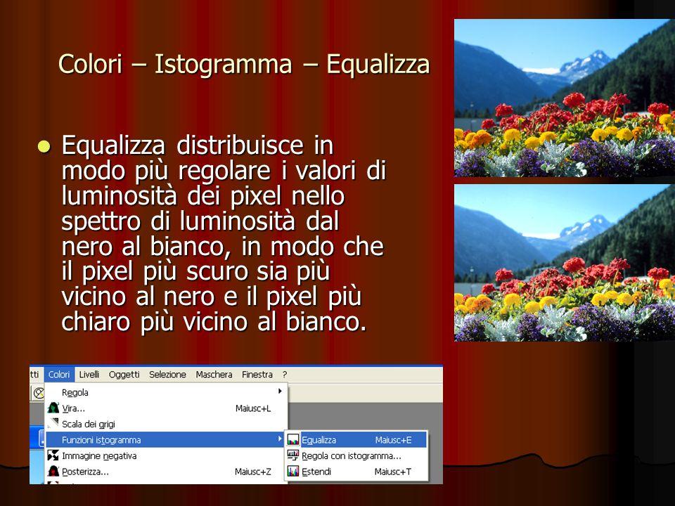 Colori – Istogramma – Equalizza Equalizza distribuisce in modo più regolare i valori di luminosità dei pixel nello spettro di luminosità dal nero al b