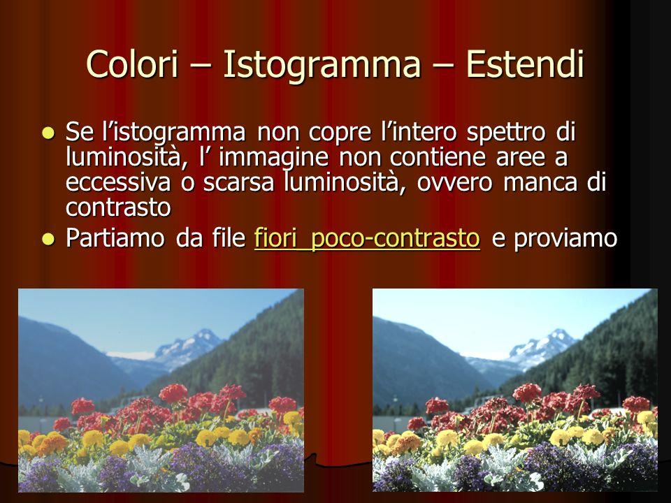Colori – Istogramma – Estendi Se listogramma non copre lintero spettro di luminosità, l immagine non contiene aree a eccessiva o scarsa luminosità, ov