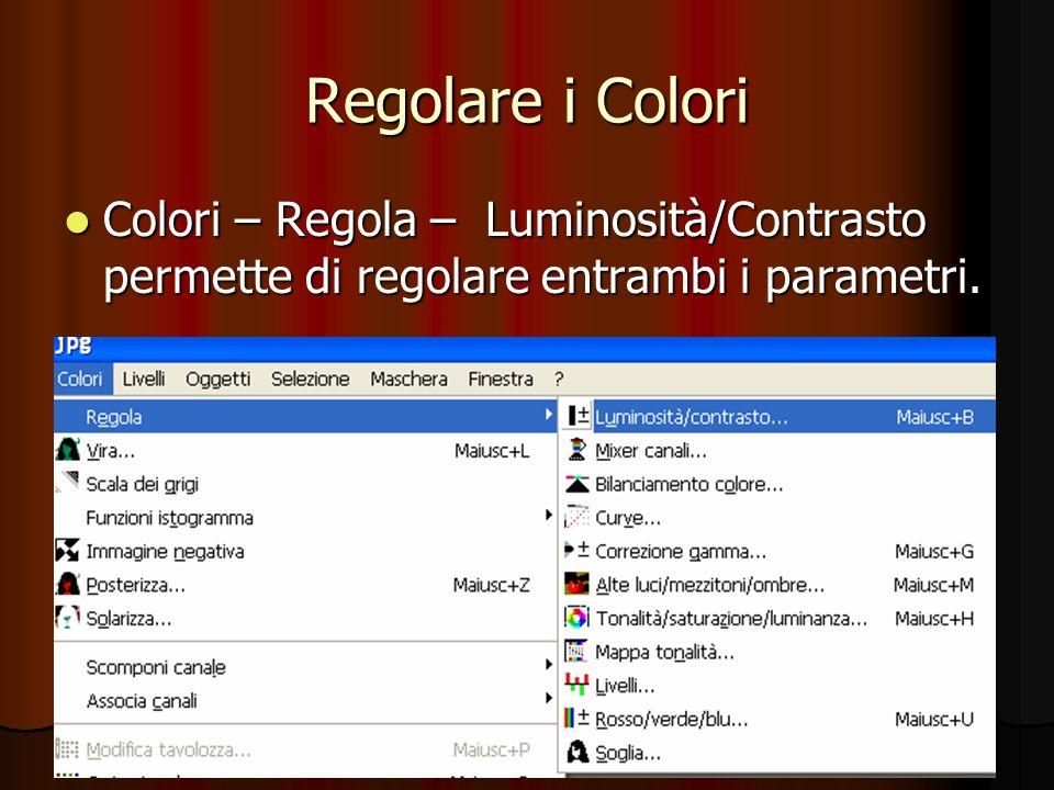 Regolare i Colori Colori – Regola – Luminosità/Contrasto permette di regolare entrambi i parametri. Colori – Regola – Luminosità/Contrasto permette di