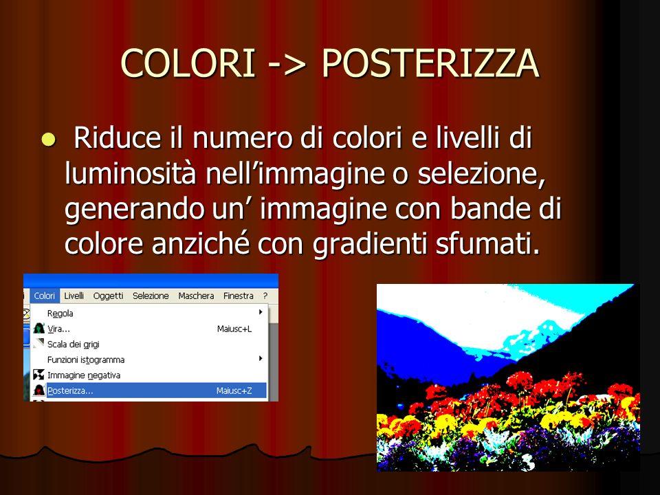 COLORI -> POSTERIZZA Riduce il numero di colori e livelli di luminosità nellimmagine o selezione, generando un immagine con bande di colore anziché co