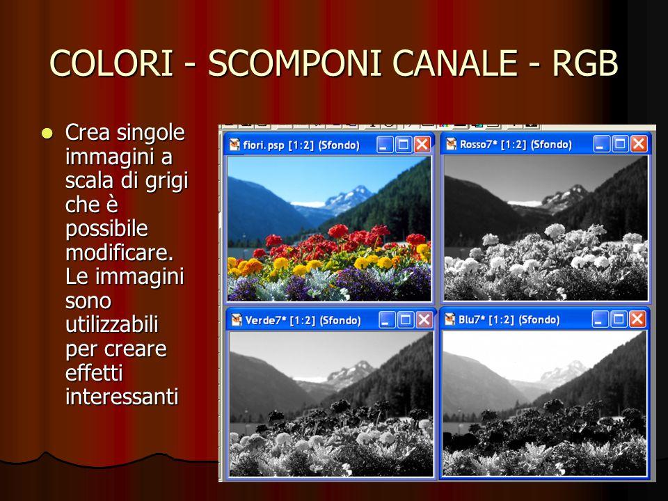 COLORI - SCOMPONI CANALE - RGB Crea singole immagini a scala di grigi che è possibile modificare. Le immagini sono utilizzabili per creare effetti int