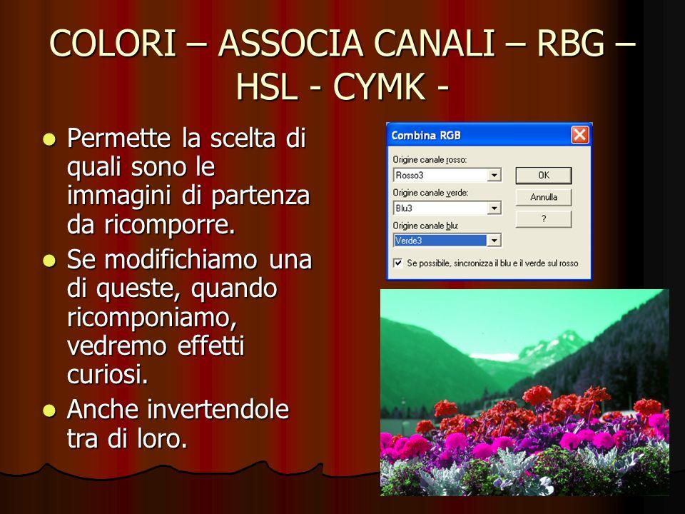 COLORI – ASSOCIA CANALI – RBG – HSL - CYMK - Permette la scelta di quali sono le immagini di partenza da ricomporre. Permette la scelta di quali sono