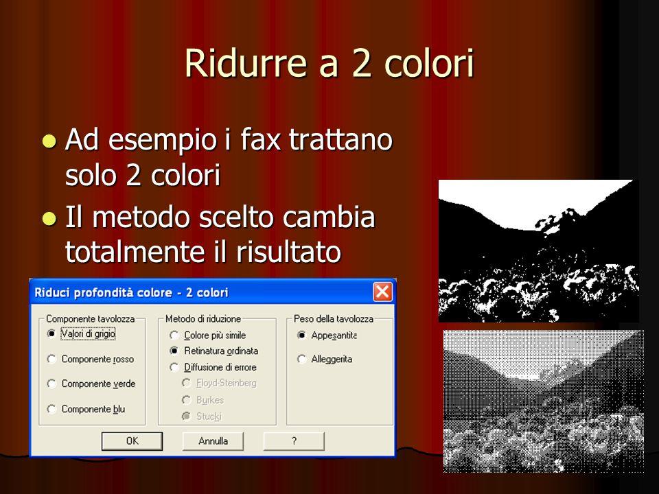 Ridurre a 2 colori Ad esempio i fax trattano solo 2 colori Ad esempio i fax trattano solo 2 colori Il metodo scelto cambia totalmente il risultato Il