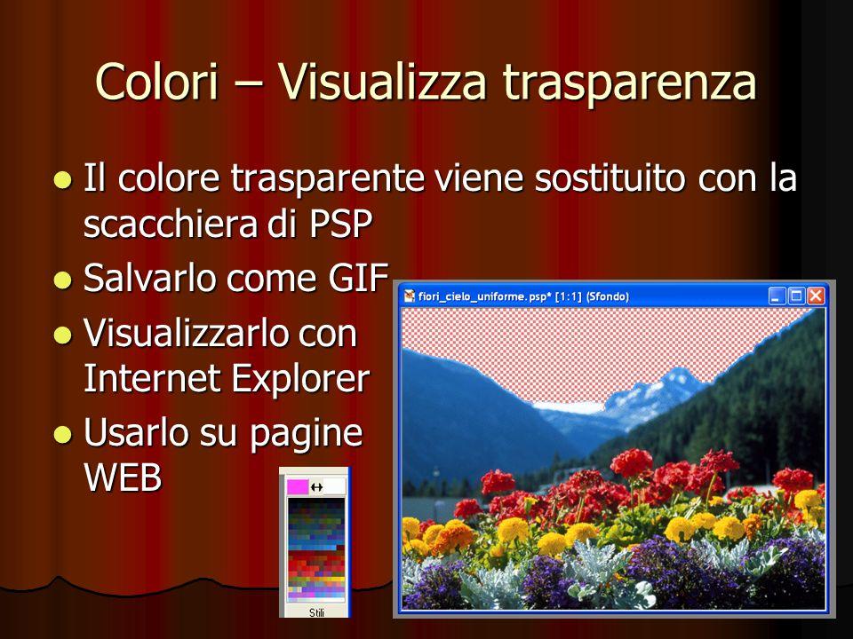 Colori – Visualizza trasparenza Il colore trasparente viene sostituito con la scacchiera di PSP Il colore trasparente viene sostituito con la scacchie