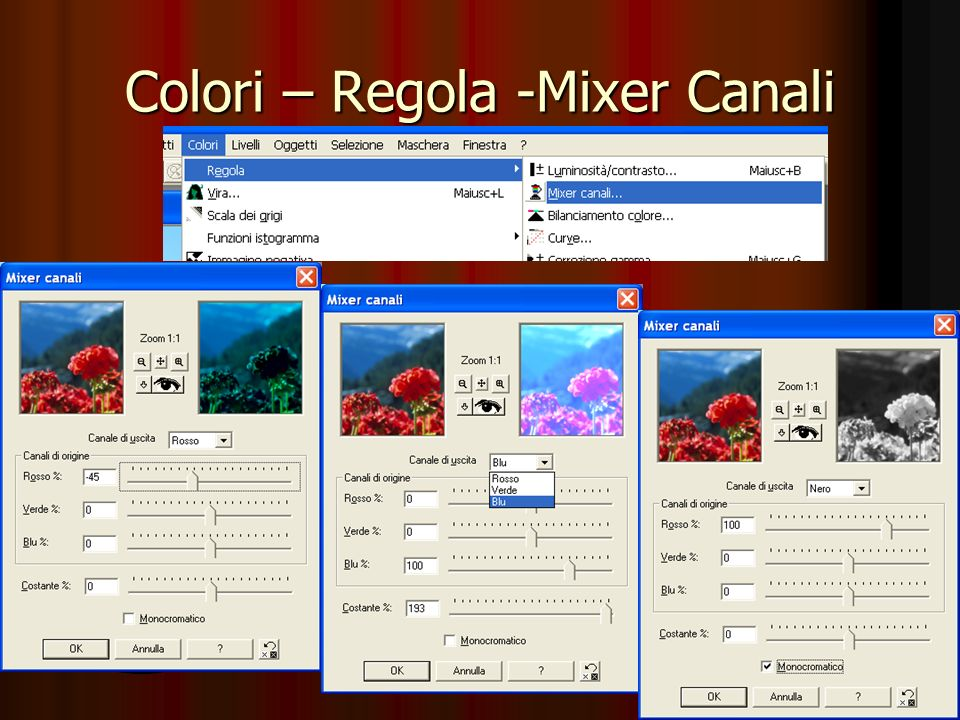 Colori - Regola – Bilanciamento Modificare limmagine spostando il bilanciamento di un colore e del suo opposto.