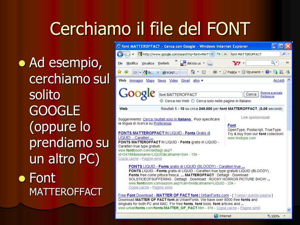 Cerchiamo il file del FONT Ad esempio, cerchiamo sul solito GOOGLE (oppure lo prendiamo su un altro PC) Ad esempio, cerchiamo sul solito GOOGLE (oppur