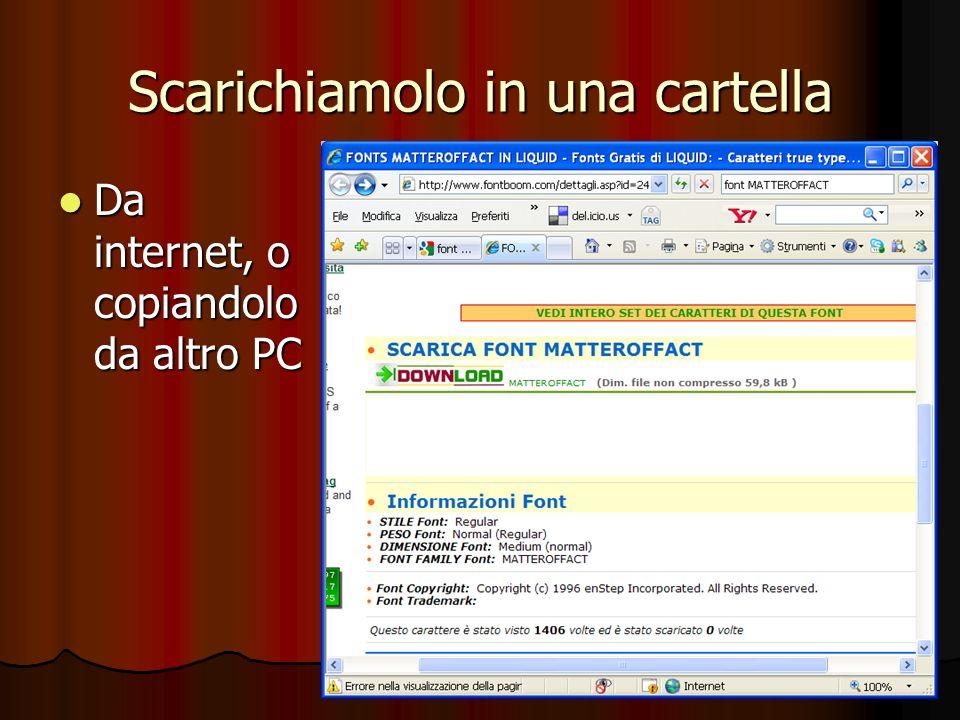 Scarichiamolo in una cartella Da internet, o copiandolo da altro PC Da internet, o copiandolo da altro PC