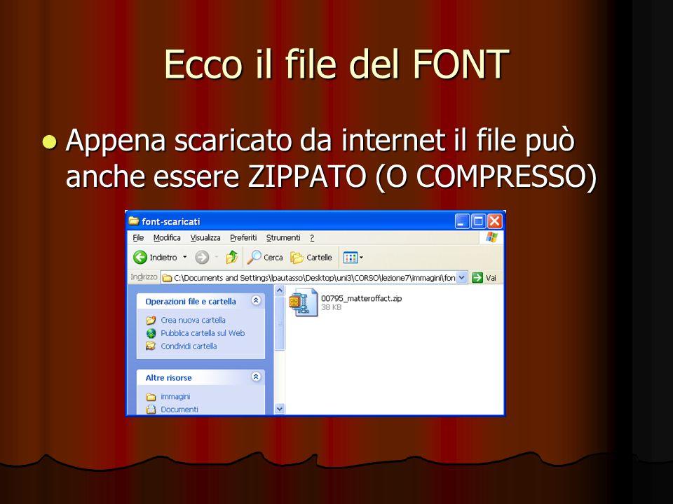 Ecco il file del FONT Appena scaricato da internet il file può anche essere ZIPPATO (O COMPRESSO) Appena scaricato da internet il file può anche esser