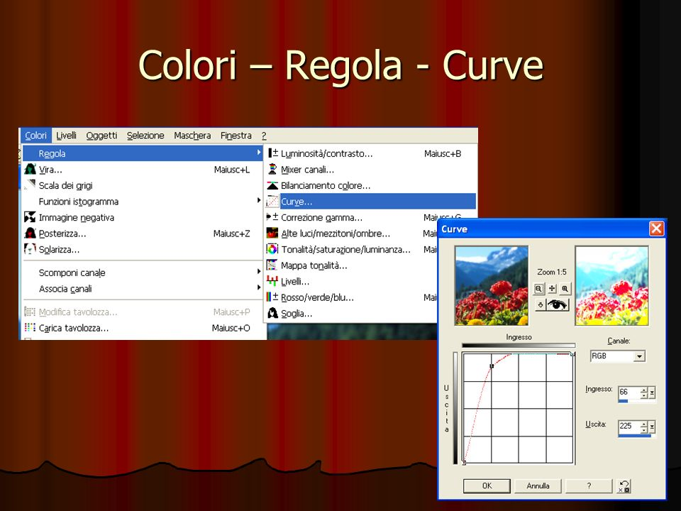 Colori – Regola – Soglia -------------- Creare unimmagine in bianco e nero a partire da unimmagine a colori.