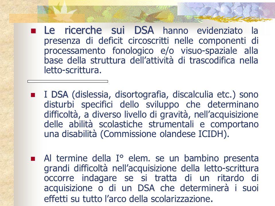 Le ricerche sui DSA Le ricerche sui DSA hanno evidenziato la presenza di deficit circoscritti nelle componenti di processamento fonologico e/o visuo-s