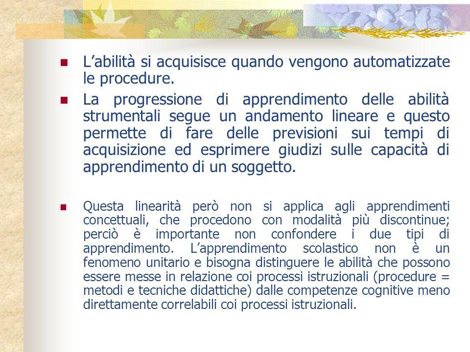 Labilità si acquisisce quando vengono automatizzate le procedure. La progressione di apprendimento delle abilità strumentali segue un andamento linear