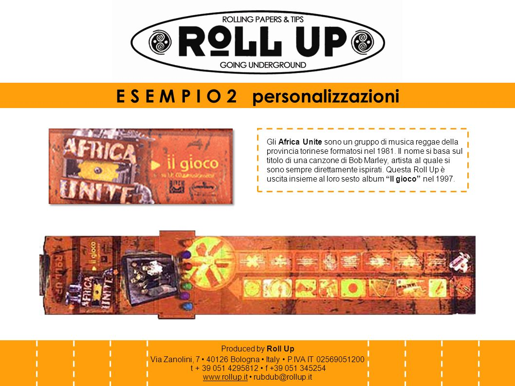 Produced by Roll Up Via Zanolini, 7 40126 Bologna Italy P.IVA IT 02569051200 t + 39 051 4295812 f +39 051 345254 www.rollup.itwww.rollup.it rubdub@rollup.it Il Rototom Sunsplash è il più grande festival reggae europeo, che si tiene ogni estate a Osoppo, in provincia di Udine.