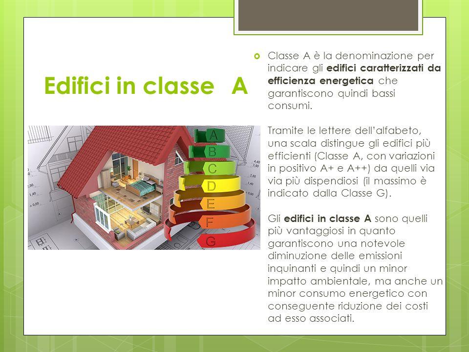 Edifici in classeA Classe A è la denominazione per indicare gli edifici caratterizzati da efficienza energetica che garantiscono quindi bassi consumi.