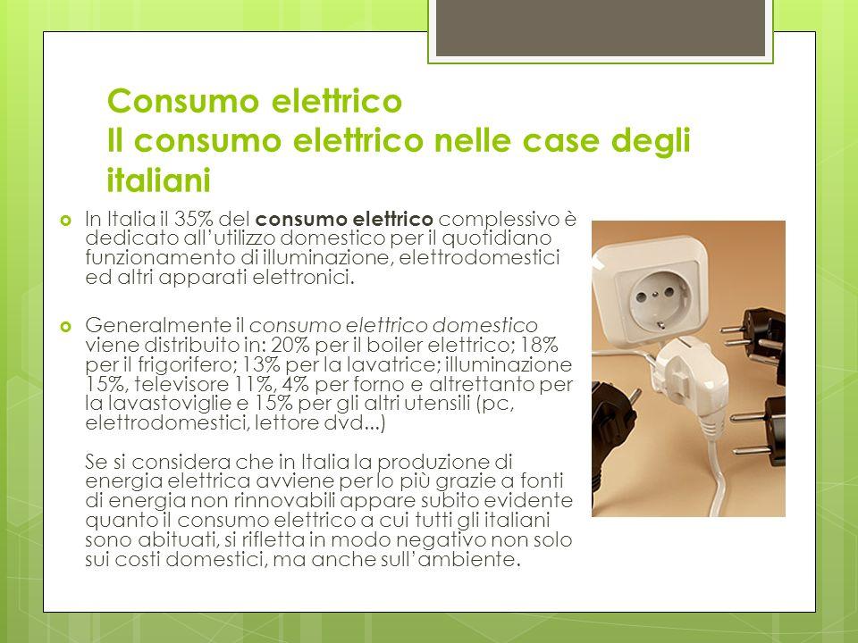 Consumo elettrico Il consumo elettrico nelle case degli italiani In Italia il 35% del consumo elettrico complessivo è dedicato allutilizzo domestico per il quotidiano funzionamento di illuminazione, elettrodomestici ed altri apparati elettronici.