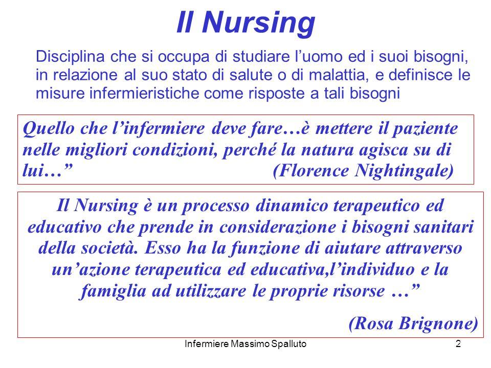 2 Il Nursing Disciplina che si occupa di studiare luomo ed i suoi bisogni, in relazione al suo stato di salute o di malattia, e definisce le misure in