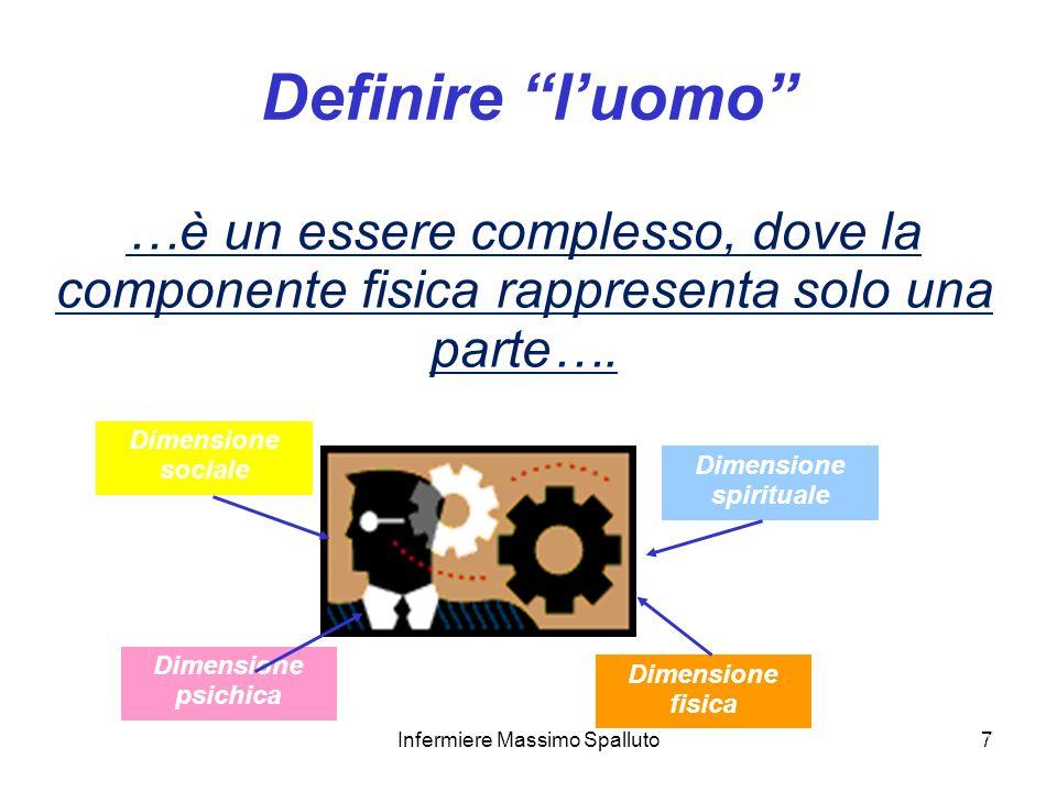 7 Definire luomo …è un essere complesso, dove la componente fisica rappresenta solo una parte…. Dimensione sociale Dimensione fisica Dimensione psichi