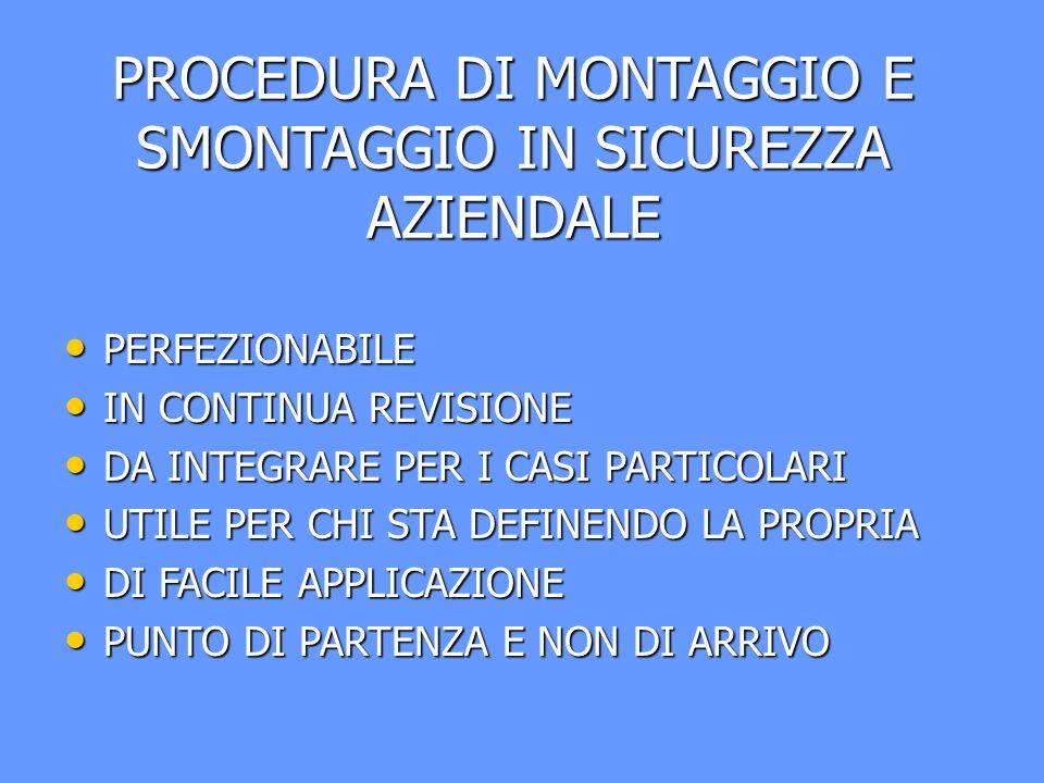 PROCEDURA DI MONTAGGIO E SMONTAGGIO IN SICUREZZA AZIENDALE PERFEZIONABILE PERFEZIONABILE IN CONTINUA REVISIONE IN CONTINUA REVISIONE DA INTEGRARE PER