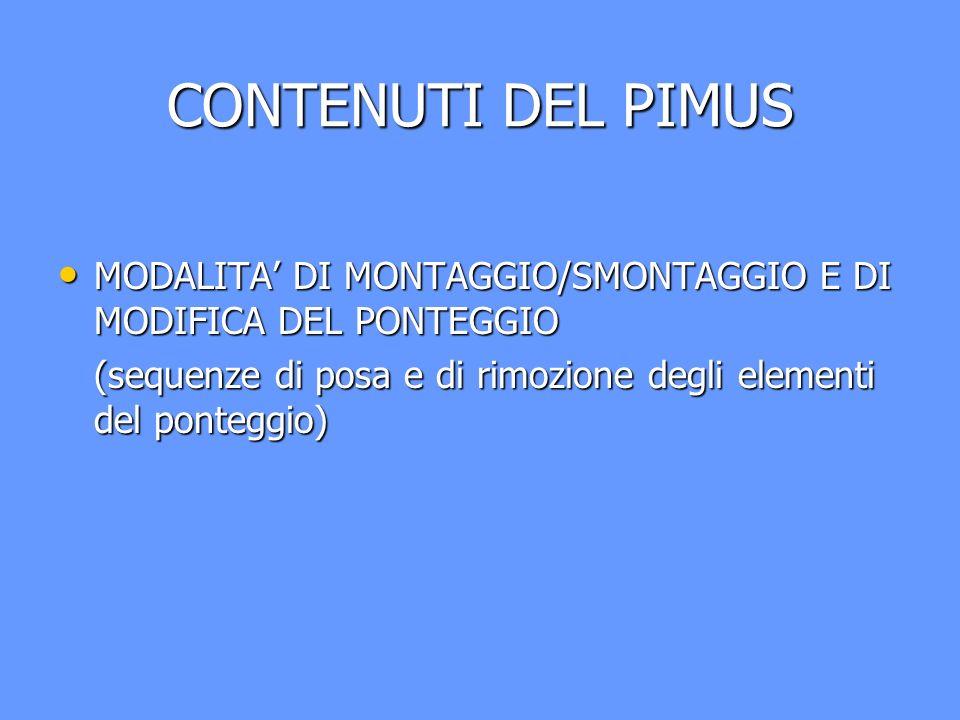 CONTENUTI DEL PIMUS MODALITA DI MONTAGGIO/SMONTAGGIO E DI MODIFICA DEL PONTEGGIO MODALITA DI MONTAGGIO/SMONTAGGIO E DI MODIFICA DEL PONTEGGIO (sequenz