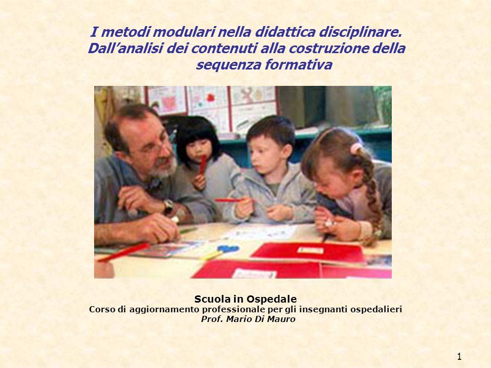 1 Scuola in Ospedale Corso di aggiornamento professionale per gli insegnanti ospedalieri Prof. Mario Di Mauro I metodi modulari nella didattica discip