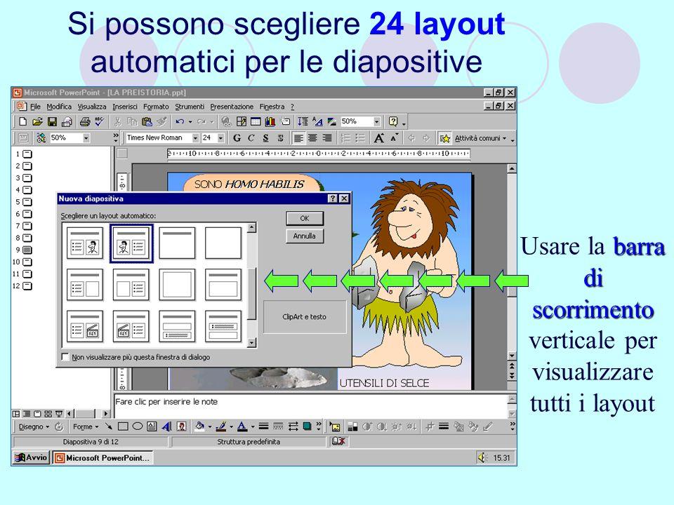 Si possono scegliere 24 layout automatici per le diapositive barra di scorrimento Usare la barra di scorrimento verticale per visualizzare tutti i layout