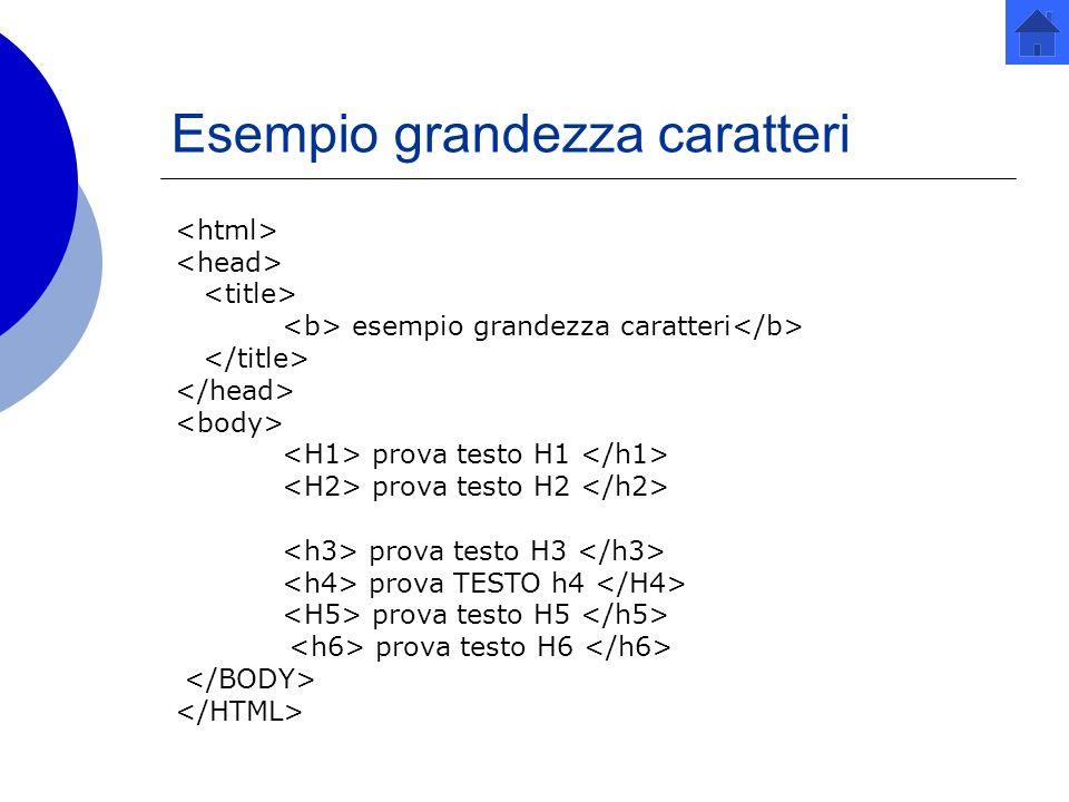 Esempio grandezza caratteri esempio grandezza caratteri prova testo H1 prova testo H2 prova testo H3 prova TESTO h4 prova testo H5 prova testo H6