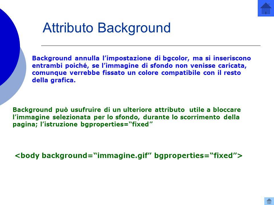 Attributo Background Background annulla limpostazione di bgcolor, ma si inseriscono entrambi poiché, se limmagine di sfondo non venisse caricata, comunque verrebbe fissato un colore compatibile con il resto della grafica.