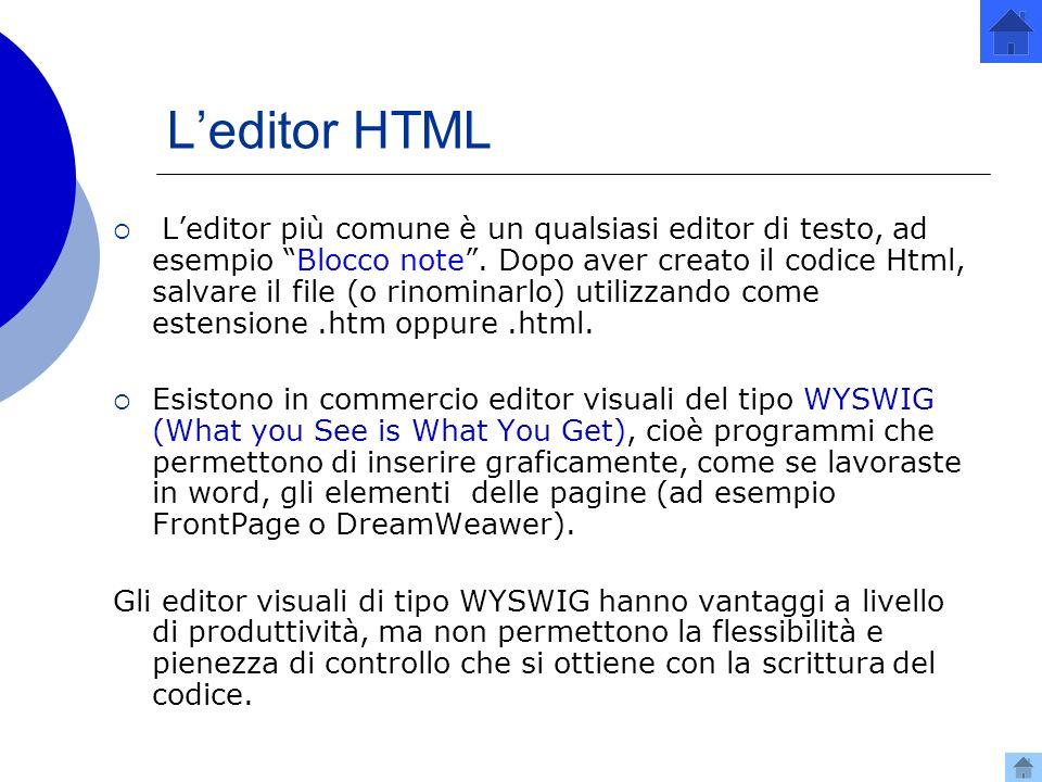 Leditor HTML Leditor più comune è un qualsiasi editor di testo, ad esempio Blocco note.