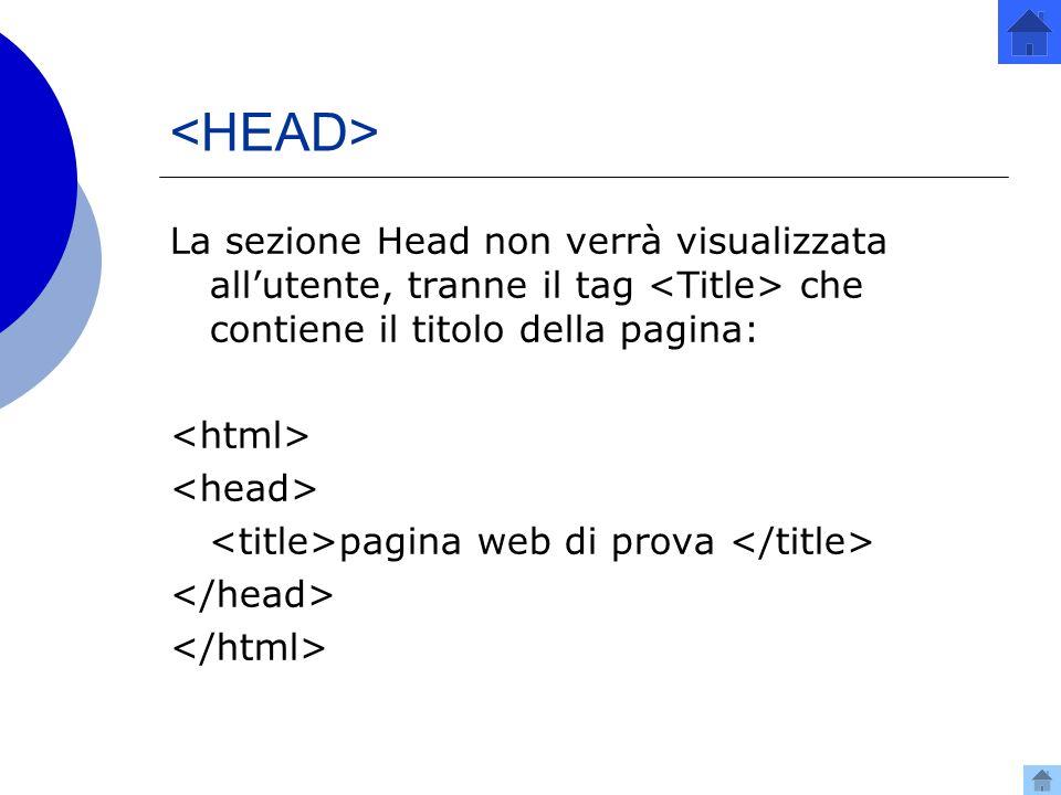 La sezione Head non verrà visualizzata allutente, tranne il tag che contiene il titolo della pagina: pagina web di prova
