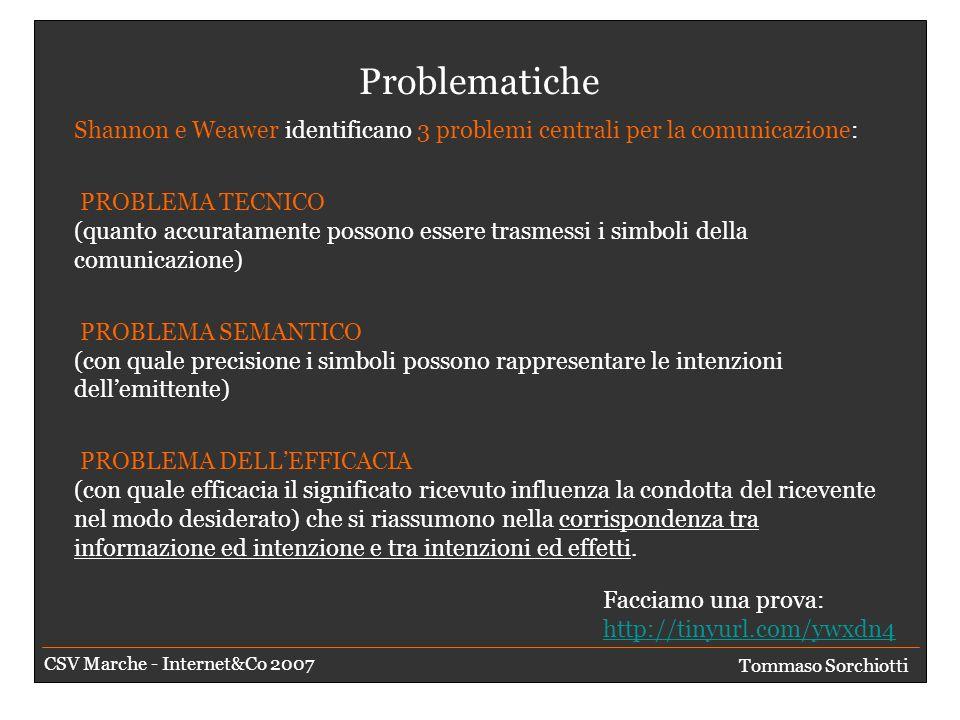 Gli scopi Far percepire il messaggio Comunicazione tradizionale Persuadere Pubblicità Informare Divertire Tommaso Sorchiotti CSV Marche - Internet&Co 2007