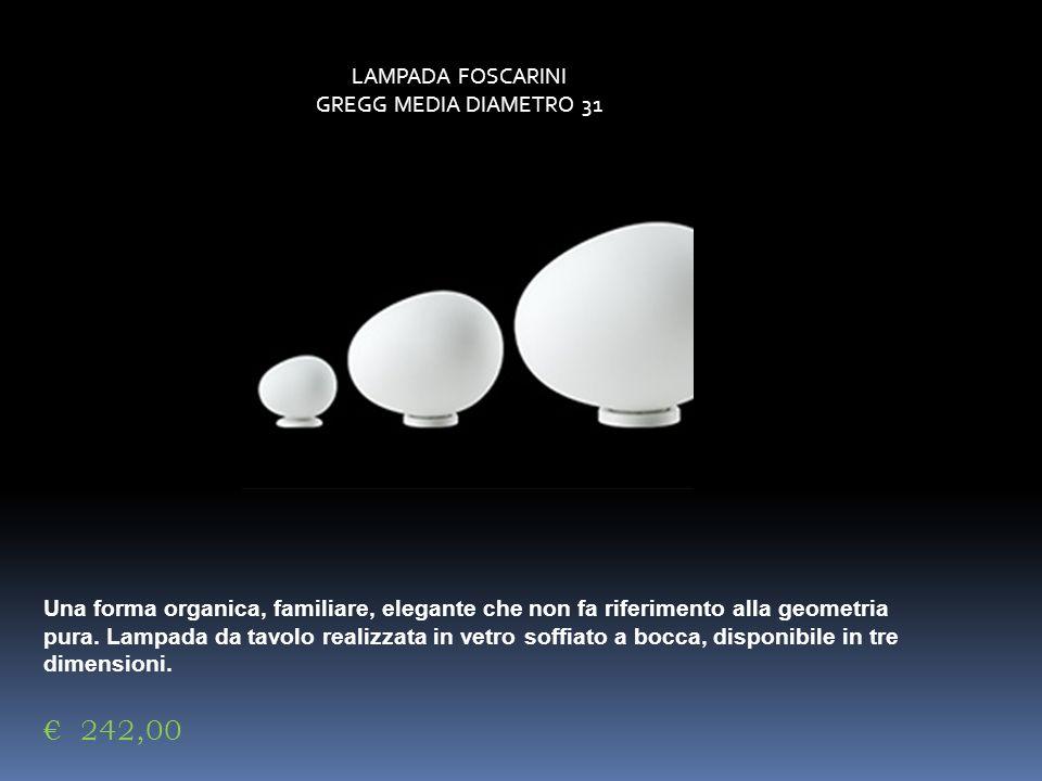 LAMPADA FOSCARINI GREGG MEDIA DIAMETRO 31 Una forma organica, familiare, elegante che non fa riferimento alla geometria pura. Lampada da tavolo realiz