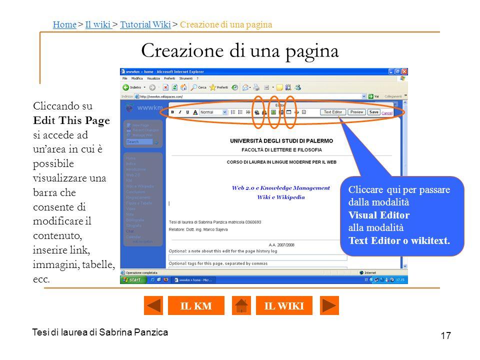 Tesi di laurea di Sabrina Panzica 17 Creazione di una pagina Cliccare qui per passare dalla modalità Visual Editor alla modalità Text Editor o wikitext.