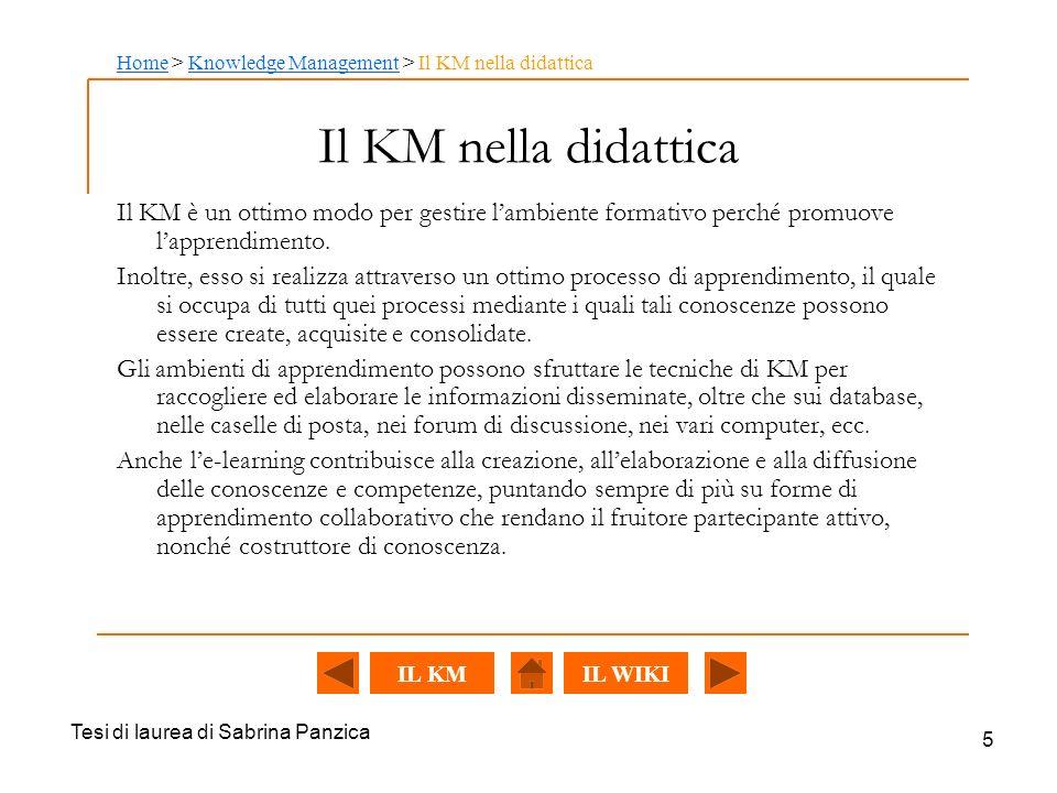Tesi di laurea di Sabrina Panzica 5 Il KM nella didattica Il KM è un ottimo modo per gestire lambiente formativo perché promuove lapprendimento.