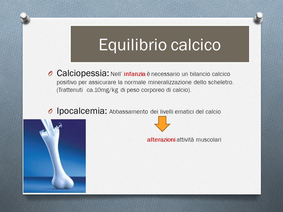 Equilibrio calcico O Calciopessia: Nell infanzia è necessario un bilancio calcico positivo per assicurare la normale mineralizzazione dello scheletro.